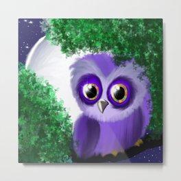 Violet Owl & The Moonlight Metal Print