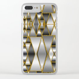Gray Ombre Abstract Geometry Clear iPhone Case