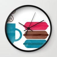 macarons Wall Clocks featuring Macarons  by Daniela Marti