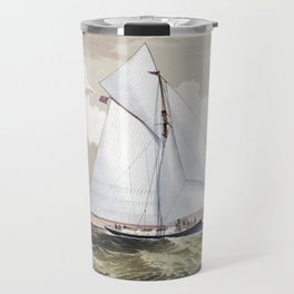 The America Cup - Sloop Yachts Mischief and Atalanta - Circa 1881 Travel Mug