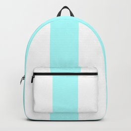 Wide Vertical Stripes - White and Celeste Cyan Backpack
