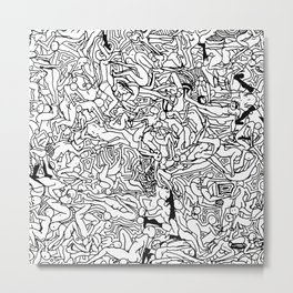 Lots of Bodies Doodle in Black and White Metal Print