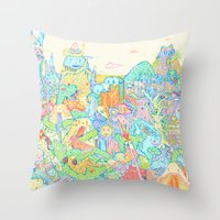 dragons Throw Pillows featuring Dragons by Nick Bright