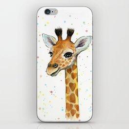 Baby-Giraffe-Nursery-Print-Watercolor-Animal-Portrait-Hearts iPhone Skin