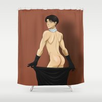 levi Shower Curtains featuring break the gov't by kiokushitaka