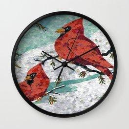 Cardinals In Winter Wall Clock