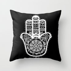 Black & White Hamsa Hand Throw Pillow