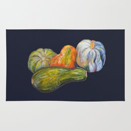Thanksgiving Pumpkins and Festive Squash for Autumn and the Holidays in Blue Rug