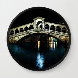 Rialto Bridge, Grand Canal, Venice, Italy Landscape by Jeanpaul Ferro Wall Clock