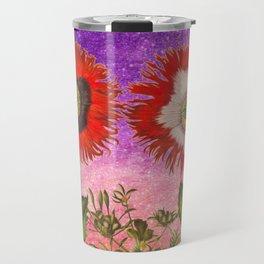 Vintage Botanical Collage - Poppies, Papaver Somniferum Travel Mug