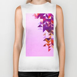 Colourful and Vibrant Geometric Nature on Ombre Pink Biker Tank