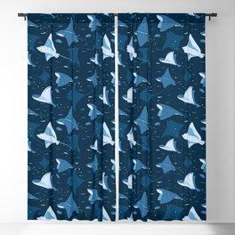 Blue stingrays pattern Blackout Curtain