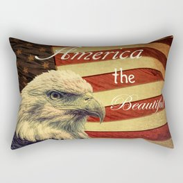 America the Beautiful Rustic Flag A109 Rectangular Pillow