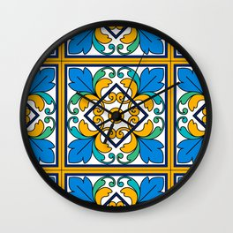Vintage Majolica Tiles Wall Clock