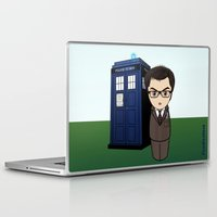 dr who Laptop & iPad Skins featuring Kokeshi Dr. Who by Pendientera