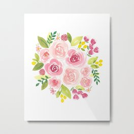 Watercolor Rose Bouquet Metal Print