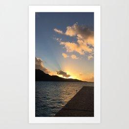 Bora Bora Sunset Over Water Art Print