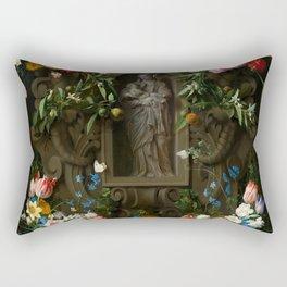 """Daniel Seghers, Thomas Bosschaert """"Garland of Flowers surrounding a Sculpture of the Virgin Mary"""" Rectangular Pillow"""