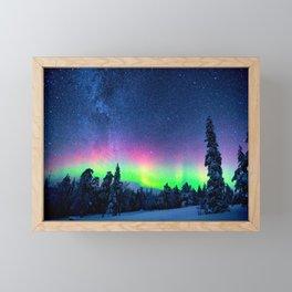 Aurora Borealis Over Wintry Mountains Framed Mini Art Print