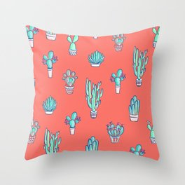 Little Cactus Pattern on Living Coral Throw Pillow