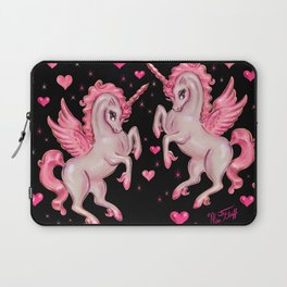 Pink Unicorn Pegasus on Black Laptop Sleeve