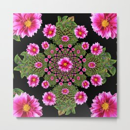 Pink Dahlia Flowers Green-Black Geometric Metal Print