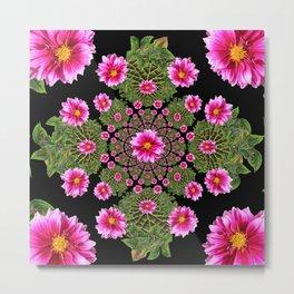 Pink Dahlia Flowers Green-Black Geometric Metal Print