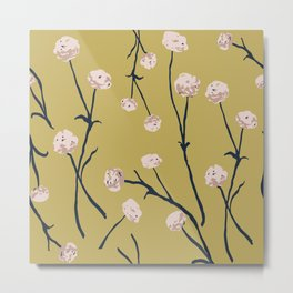 Dandelions on Ochre Metal Print