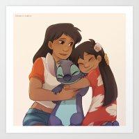 ohana Art Prints featuring Ohana by Sunny