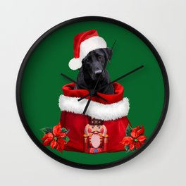 Labrador Dog Santa Claus Nutcracker Christmas Bag Wall Clock