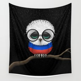 Baby Owl with Glasses and Russian Flag Wall Tapestry