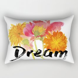 Watercolor Flowers with Words Rectangular Pillow