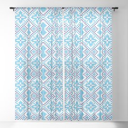 Blue embroidery pattern Sheer Curtain