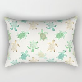 Gilded Jade & Mint Turtles Rectangular Pillow