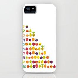 numbers for preschool kindergarten kids kawaii fruit from one to ten iPhone Case