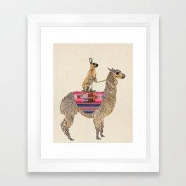 Forward - Alpaca with hare Framed Art Print
