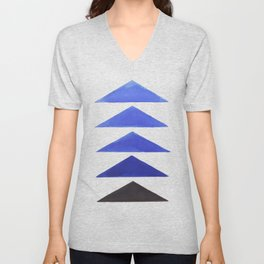 Colorful Blue Geometric Triangle Pattern With Black Accent Unisex V-Neck