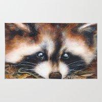 raccoon Area & Throw Rugs featuring Raccoon by Patrizia Ambrosini