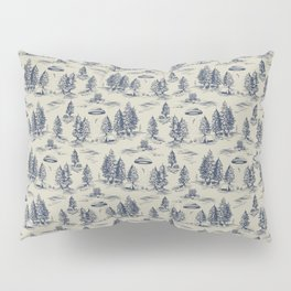 Alien Abduction Toile De Jouy Pattern in Blue Pillow Sham