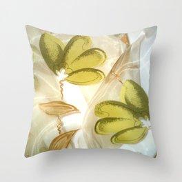 textile / flower / green  Throw Pillow