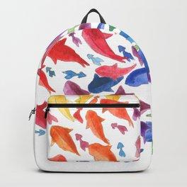 Origami rainbow fish Backpack