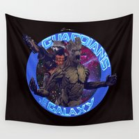 guardians of the galaxy Wall Tapestries featuring Groot and Rocket - Guardians of the Galaxy by Leamartes
