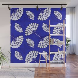 African Floral Motif on Royal Blue Wall Mural
