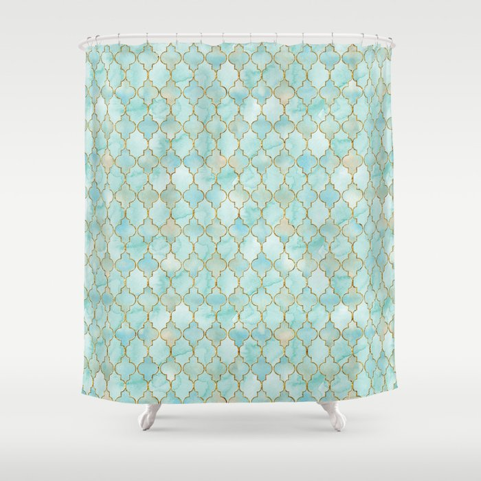 Luxury Aqua And Gold Oriental Pattern Shower Curtain
