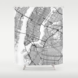 New York Map White Shower Curtain