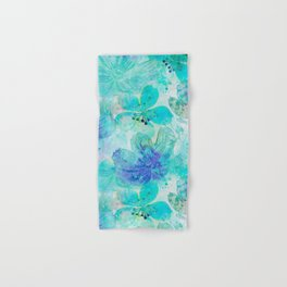 blue turquoise mixed media flower illustration Hand & Bath Towel