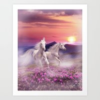 unicorns Art Prints featuring Unicorns by Nessendyl