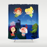 peter pan Shower Curtains featuring Peter Pan by UniverseSunny