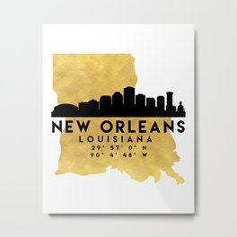 NEW ORLEANS LOUISIANA SILHOUETTE SKYLINE MAP ART Metal Print