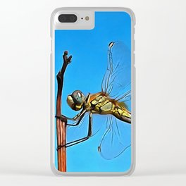 Hang On In There Artistic Dragonfly Clear iPhone Case